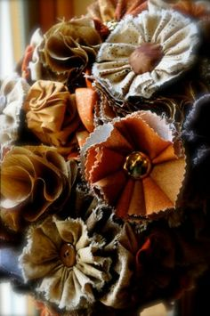 Fall Fabric Flower Bouquet made for my Mother's Wedding