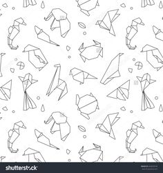 Animals origami pattern snake, elephant, bird, seahorse, frog, fox, mouse, butterfly, pelican, wolf, bear, rabbit, crab, giraffe, cat, panda, kangaroo drawing with black lines on white background