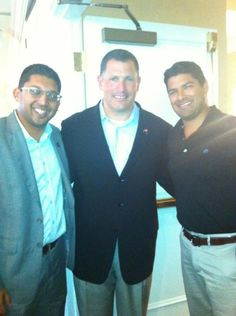Aakash M. Patel with Tampa Bay Buccaneers Head Coach Greg Schiano and Leadership Tampa Classmate Punit Shah at The Centre Club