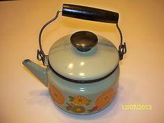 Vtg Green Decor Ceramic Steel Teapot Tea Kettle US Stamping Co Moundsville WV