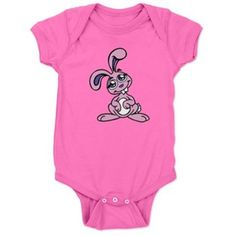 Adorable #PinkBuckTeethBunny #BabyBodysuit by #MoonDreamsMusic #Raspberry #EasterBabyStyle