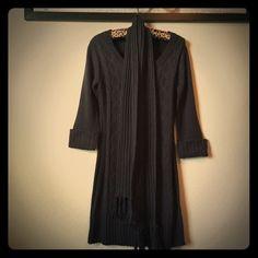Dark Grey Sweater Dress with Scarf Derrick Heart Dark Gray Sweater Dress. Half cuffed sleeves with matching scarf. Size: L Derek Heart Sweaters Crew & Scoop Necks