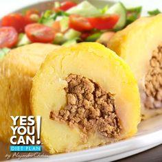 Bolitas de Platano rellenas de carne una receta de Yes You Can! Diet Plan
