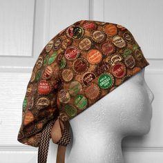 Vintage Bottlecaps Tie Back Scrub Hat