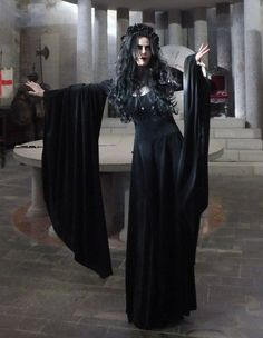 Elanorwen Gown - witchy clothing - steamed velvet medieval goth arthurian witch dress by Moonmaiden