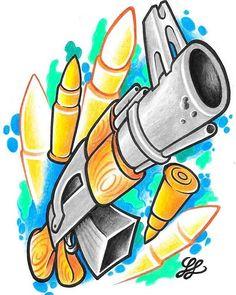 New school AK 47 machine gun tattoo