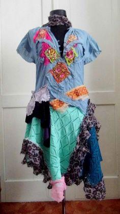 Dress gypsy fairy punk upcycled dress mori girl by radusport