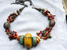 Traditional amber, coral and amazonite necklace.