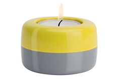 Duo Candle Holder Yellow Grey by TEO on Clippings.com