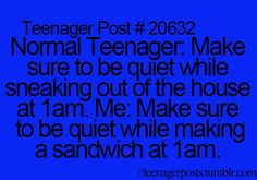 Actually, most teenagers do not sneak out of the house in the middle of the night.  Only bad teenagers do that.