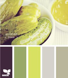 pickled hues- good gray...like the accents of green and dark purple...would  probably leave out the bright yellow