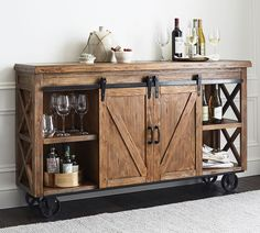 Organize your home bar with bar furniture from Pottery Barn. Find home bar furniture in a wide range of styles and finishes that hold and display entertaining essentials. Home Bar Cabinet, Rustic Furniture, Kitchen Cabinet Design, Pallet Kitchen, Pallet Kitchen Cabinets, Furniture, Home Furniture, Bars For Home, Bar Cabinet