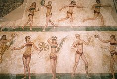 Roman Women Exercising. Mosaic From Villa Romana del Casale outside the town of Piazza Armerina, in Central Sicily. Mosaic may have been made in the 4th century A.D. by North African artists.
