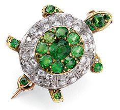 0.70ct Diamond Emerald 14k Yellow Gold Beautiful Turtle Wedding Brooch F AA0360 #Handmade