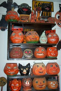 Vintage Halloween lanterns, these are made of paper, the eyes are hand painted crape paper these were popular and were carried in the 5 and 10 stores. during the 1930-40's