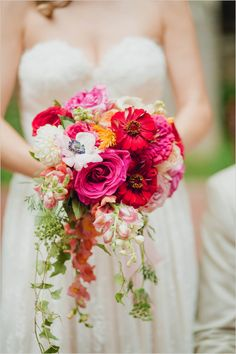 pink and red bouquet | garden wedding | bright bouquet #weddingchicks