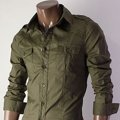 Khaki Military Dress Shirt www.jhlstyle.com
