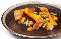 This Dorset crab recipe by Christoffer Hruskova is a creative way to serve crab. Flavourful carrot mingles well with the crab meat for a delicious dish Shellfish Recipes, Crab Recipes, Dinner Recipes, Baked Salmon And Asparagus, Baked Carrots, Great British Chefs, English Food, Food Presentation, Food Plating