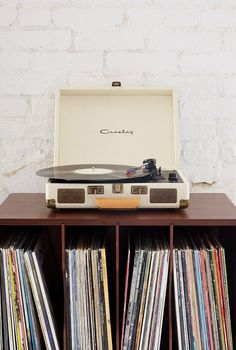 So much cooler than a standard wedding DJ: get your guests to bring their favourite song on vinyl. Record player is a very stylish Crosley Cruiser from Urban Outfitters Vinyl Record Player, Record Players, Vinyl Record Display, Portable Record Player, Decoration Inspiration, Room Inspiration, Vintage Design, Retro Vintage, Vinyls