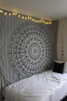 Buy black and white elephant mandala tapestry wall hanging bed cover at best price. Shipping worldwide USA, UK, Canada, Australia and more countries.