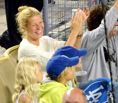 Gwyneth Paltrow cheered in the stands at a Dodgers game with her family.