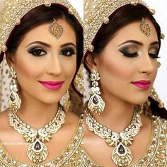 Love the lipstick color and eyeshadow. Bridal makeup gold.