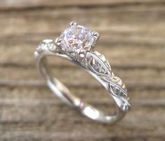 $580 Leaf Engagement Ring, Engagement Ring, Antique Engagement Ring,  Leaf Ring, Antique Engagement Ring, Yellow Gold and Diamond engagement ring by Benati on Etsy https://www.etsy.com/listing/264467074/leaf-engagement-ring-engagement-ring