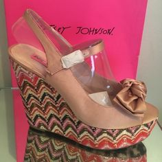 🎉Best in shoes HP🎉 BETSEY JOHNSON WENDY WEDGES BETSEY JOHNSON NEW in box Wenndy Beige Wedges  8.5 Medium  BEST IN SHORS HP 2/7/16 -🎉yay🎉 This fun free spirited brand is a combination of girly girl and rock and roll. Betsey Johnson's love for dance and costumes drove her to create her bright and energetic brand.  Sizes: 8.5  & sz 8 - Med- Blush Multi color -New with box-Betsey Johnson Wedges- Medium in width Heel Height: 5 1/4 Inches-Platform Height: 1 3/4 Inches-Buckle closure-Man Made…