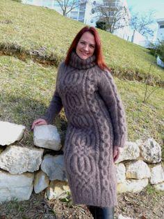 Эксклюзивная ручная вязаная длинношерстная кошка мохер свитер платье водолазка lanaknittings
