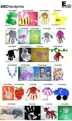 Abc animal hand print for kids