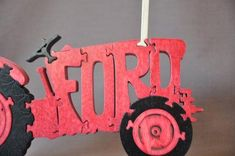 Ford Antique Red Farm Tractor Wooden Toy Puzzle Hand Cut Wooden Toy Farm, Wooden Puzzles, Wooden Toys, Red Tractor, Tractors, Classic Car Insurance, Kids Toys, Ford, Christmas Ornaments