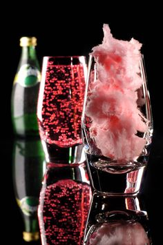 New Years Eve ~ MAGIC PERRIER ~ Fill glass with pink cotton candy and slowly pour champagne over it. Such a beautiful beverage. Make it kid friendly by adding sprite in place of champagne.