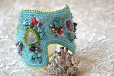 Bead embroidery bracelet, Beaded cuff, Beadwork, Nautical Mermaid jewelry, Beach Wedding jewelry, Gemstone blue turquoise embroidered cuff