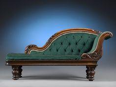 Antique Furniture, Victorian Furniture, Miniature Furniture, Chaise Lounge ~ ca 1880