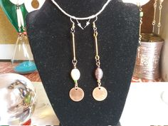 Check out Mismatched Indian Glass Brass Barbell Earrings on cherokeedancing