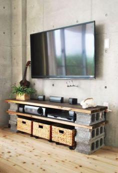 Cinderblock TV Console - DIY TV Stand