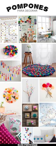 Decorating with Pompoms / Pompones para decorar / DIY home decor ideas Home Crafts, Diy And Crafts, Crafts For Kids, Fall Crafts, Holiday Crafts, Diy Y Manualidades, Diy Casa, Art Diy, Pom Pom Crafts