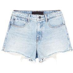 Alexander Wang 'Bite' frayed cuff denim shorts ($230) ❤ liked on Polyvore featuring shorts, bottoms, pants, short, blue, blue denim shorts, bleached jean shorts, denim cutoff shorts, cut off shorts and blue jean shorts