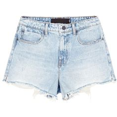 Alexander Wang 'Bite' frayed cuff denim shorts ($230) ❤ liked on Polyvore featuring shorts, bottoms, pants, short, blue, cutoff shorts, cut off jean shorts, denim short shorts, cuffed jean shorts and short jean shorts