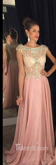 2016 long pink prom dresses, beaded cap sleeves prom dress, sheer ball gown ,see through prom dress