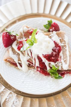Lightened-Up Strawberry Cheesecake Crepes