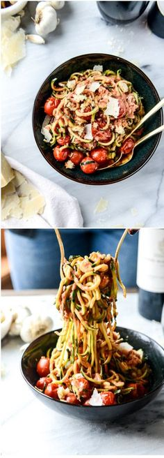 Zoodles with Cherry Tomato Garlic Cream Sauce by /howsweeteats/ I http://howsweeteats.com