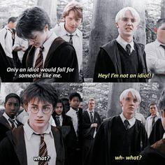 Look at how Draco looks at Harry and tell me that he doesn't love him. Look at how Draco looks at Harry and tell me that he doesn't love him. - I always post fleecy scenes, even though they are adorable. Harry Potter Comics, Draco Harry Potter, Harry Potter Anime, Images Harry Potter, Mundo Harry Potter, Harry Potter Ships, Harry Potter Universal, Harry Potter Characters, Draco Malfoy Quotes