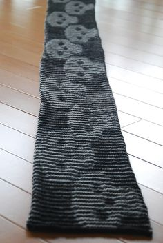 Ravelry: Mark's Skull Illusion Scarf pattern by Cathy Munoz  Awesome illusion knit.  (i've made the dragonfly and hearts)