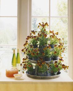 Galvanized Tiered Floral Display | Martha Stewart Living - Use seasonal flowers like violas in this tiered display using galvanized buckets and trays -- they are inexpensive, readily available, and make a big impact.