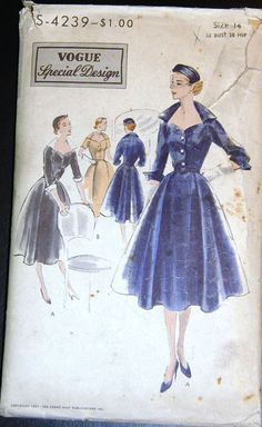 Vintage Original Vogue Special Design 50's Dress Pattern No. S-4239