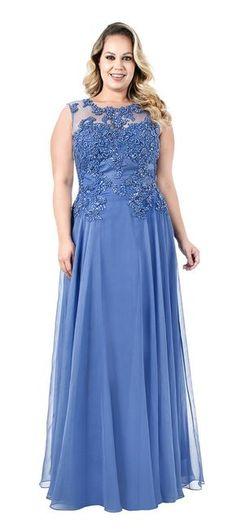 Vestido de festa azul Plus Size Prom, Plus Size Gowns, Evening Dresses Plus Size, Curvy Girl Fashion, Plus Size Fashion, Casual Dresses, Prom Dresses, Formal Dresses, Vestidos Plus Size