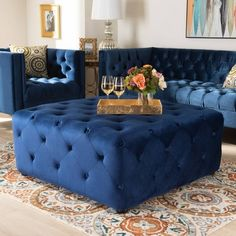 Baxton Studio Calvetti Modern and Contemporary Royal Blue Velvet Fabric Upholstered Button-Tufted Cocktail Ottoman Blue Couch Living Room, Blue Couches, Ottoman In Living Room, Blue Ottoman, Tufted Ottoman, Blue Furniture, Living Room Furniture, Fireplace Furniture, Royal Blue Couch