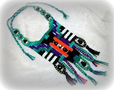Contemporary Woven Necklace with Beads Gypsy Boho by AlteresDenuo