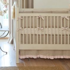 Light Pink Linen Crib Bedding | Baby Girl Crib Bedding in Pink Linen | Carousel Designs #nursery #baby